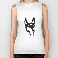 doberman Biker Tanks featuring Doberman by anabelledubois