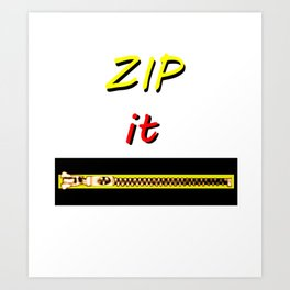 Zip it Black Yellow Red jGibney The MUSEUM Gifts Art Print