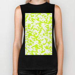Spots - White and Fluorescent Yellow Biker Tank