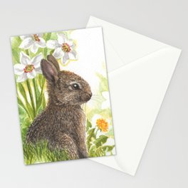Easter bunny and narcissi Stationery Cards