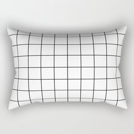 Grid Stripe Lines Black and White Minimalist Geometric Rectangular Pillow