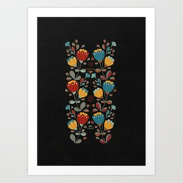 Vintage Ethno Flowers in red, blue, yellow on black Art Print