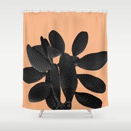 Black Pastel Orange Cacti Vibes #1 #plant #decor #art #society6 Shower Curtain