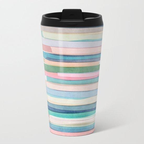 Pastel Stripes 1 Metal Travel Mug
