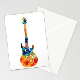 Colorful Electric Guitar 2 - Abstract Art By Sharon Cummings Stationery Cards