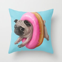 Donut Pug Throw Pillow