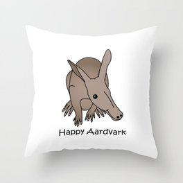 Happy Aardvark Throw Pillow