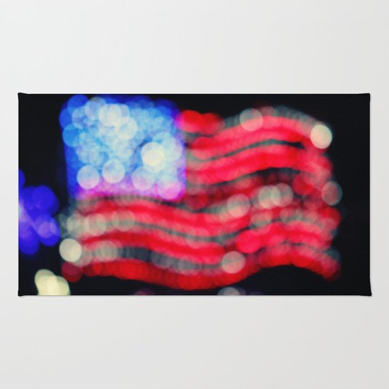 Red, White, and Bokeh Rug