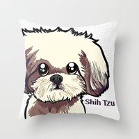 shih tzu Throw Pillows featuring Alice (Shih Tzu) by BinaryGod.com