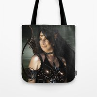 elf Tote Bags featuring ELF by BabsArtCreations