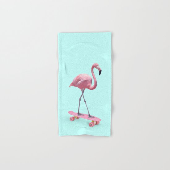 SKATE FLAMINGO Hand & Bath Towel