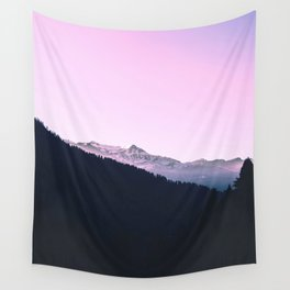 Mountain Forest Sky Pink Pastel Wall Tapestry