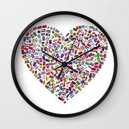 Heart flags countries Wall Clock