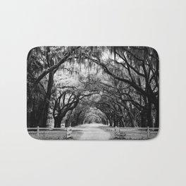 Spanish Moss on Southern Live Oak Trees black and white photograph / black and white art photography Bath Mat