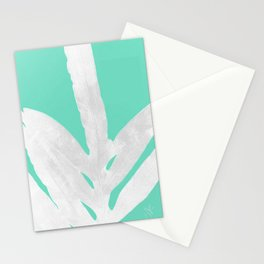 Green Fern on Ice Mint Green Inverted Silver Stationery Cards