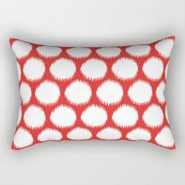 Red Asian Moods Ikat Dots Rectangular Pillow