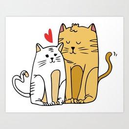 Cartoon Cat Family Art Print
