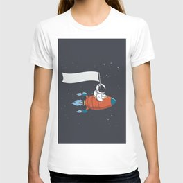 Astronaut Holds a flag in Rocket T-shirt