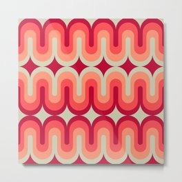 70s Geometric Design - Pink and Red Swoops Metal Print