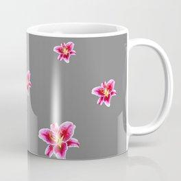 STRAWBERRY COLORED ASIAN LILIES GREY ART Coffee Mug
