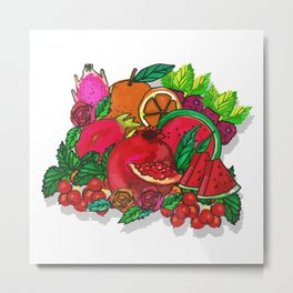 Red Fruits Drawing Metal Print