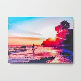 Sunset Beach In California Metal Print