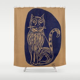 scared cat Shower Curtain
