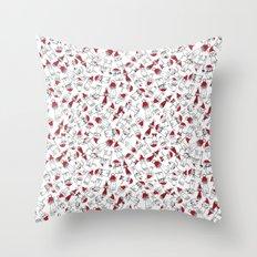 Christmas cat jumble white Throw Pillow