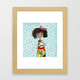 Red Bird Pet Doll Grungy Polka Dots Framed Art Print