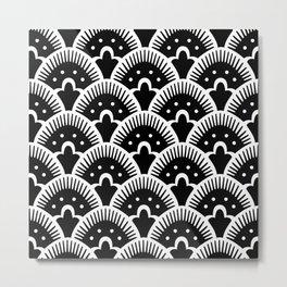 Fan Pattern Black and White Metal Print