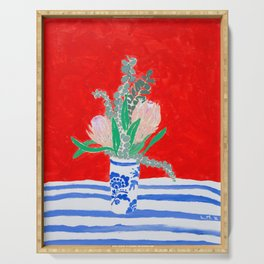 Protea Still Life in Red and Delft Blue Serving Tray