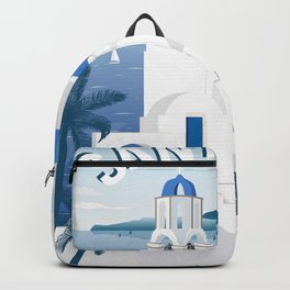 Vintage Santorini poster Backpack