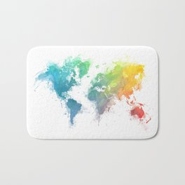 World Map splash 1 Bath Mat