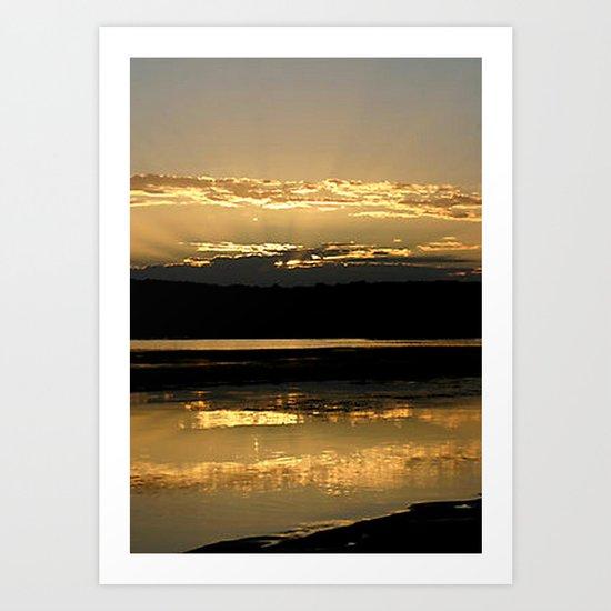 Sunsetting on a golden Pond Art Print