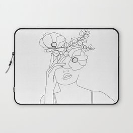 Minimal Line Art Woman with Flowers II Laptop Sleeve