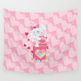 Valentines Bunny and Sweet Heart Candy Wall Tapestry