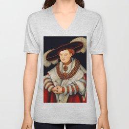 "Lucas Cranach the Elder ""Portrait of Magdalena of Saxony, Wife of Elector Joachim II of Brandenburg"" Unisex V-Neck"
