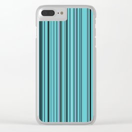 Old Skool Stripes - Teal Clear iPhone Case