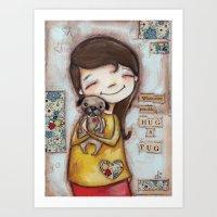 Pug Hug by Diane Duda Art Print