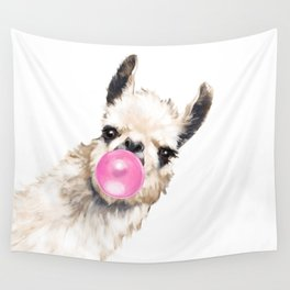 Bubble Gum Sneaky Llama Wall Tapestry