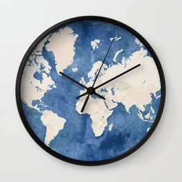 Navy blue watercolor and light brown world map Wall Clock