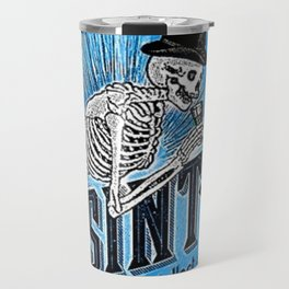 Vintage 1871 Absinthe Blue Liquor Skeleton Elixir Aperitif Cocktail Alcohol Advertisement Poster Travel Mug