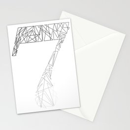 ''Geometry Collection'' - Minimal Number Seven Print Stationery Cards