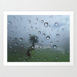Palm tree reflection in raindrops Art Print