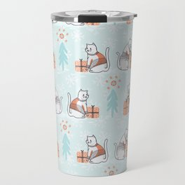 Christmas Cat in Embroidery Sweater Seamless Vector Pattern Travel Mug