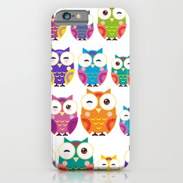 pattern - bright colorful owls on white background iPhone Case