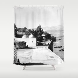 The lakefront at Galilee. Tiberias. 1945 Shower Curtain