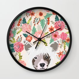 Chinese Crested floral dog breed pattern cute dog gifts for dog lovers Wall Clock