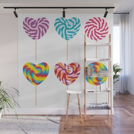 lollipops, colorful spiral candy cane with twisted design Wall Mural
