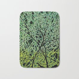Tangled Tree Branches in Leaf and Lime Green Bath Mat